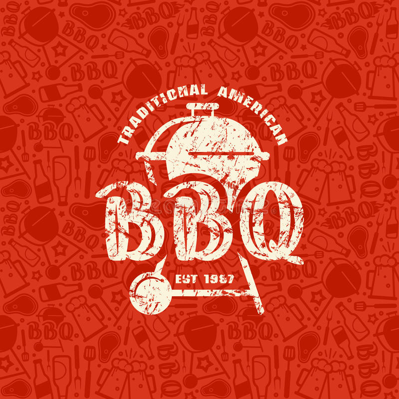 Barbecue seamless pattern and emblem royalty free illustration