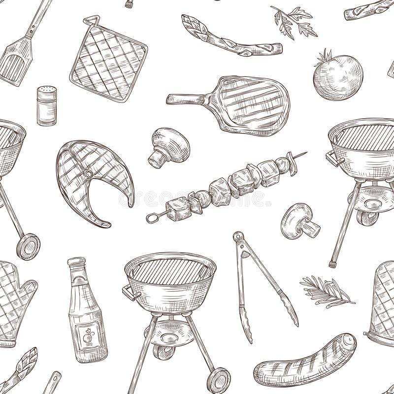 Barbecue seamless pattern. Sketch barbeque chicken grill vegetables fried steak meat picnic party vintage bbq food stock illustration