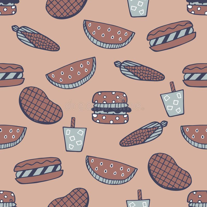 Download Barbecue Seamless Pattern. Summer Cookout With Bbq Doodles Repeat Pattern Stock Vector - Illustration of doodles, seamless: 115773344