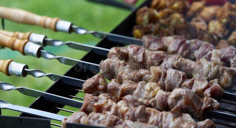 Barbecue shashlik kebab with winglets in chargrill semifinished on skewer side view closeup. Marinated barbecue shashlik kebab with curry winglets in chargrill royalty free stock photography