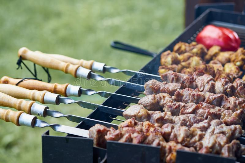 Barbecue shashlik kebab with winglets and tomatoes in chargrill semifinished on skewer side view closeup. Marinated barbecue shashlik kebab with curry winglets royalty free stock photography