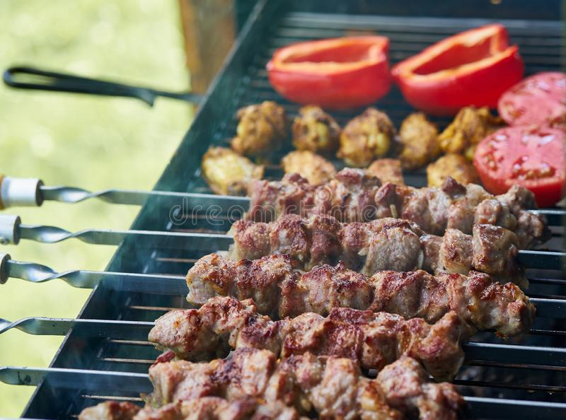 Barbecue shashlik kebab with winglets and tomatoes with roasted pepper in chargrill semifinished on skewer side view closeup. Marinated barbecue shashlik kebab royalty free stock images