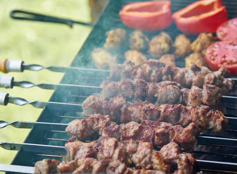 Barbecue shashlik kebab with winglets and tomatoes with roasted pepper in chargrill semifinished on skewer side view closeup. Marinated barbecue shashlik kebab stock image