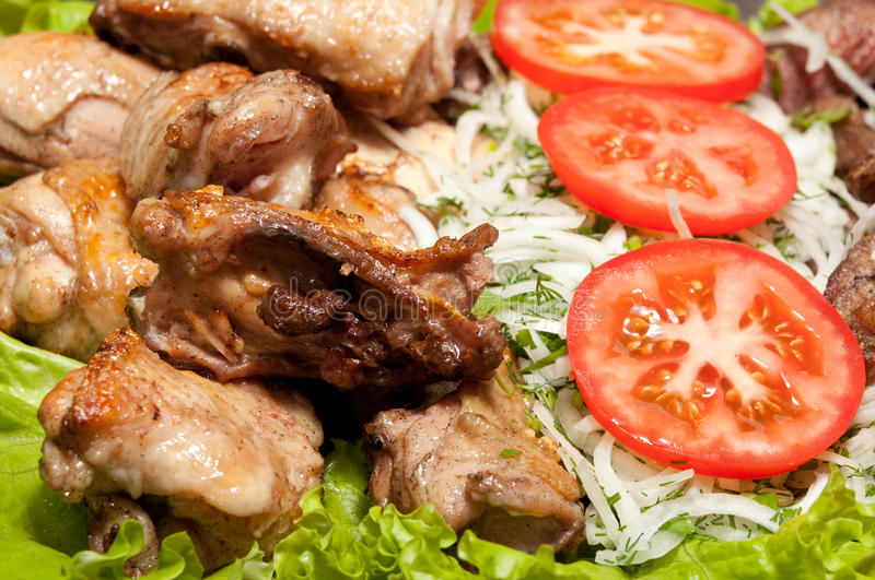 Barbecue, shish kebab from chiken and pork