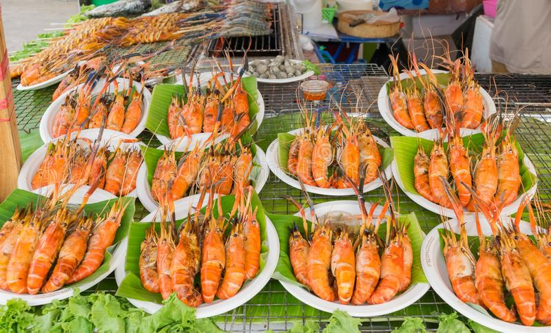 Barbecue shrimp on street food royalty free stock photos