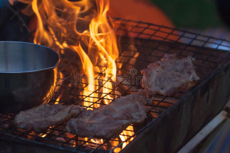 Barbecue in a simple way in wild, collect stones as grill royalty free stock image