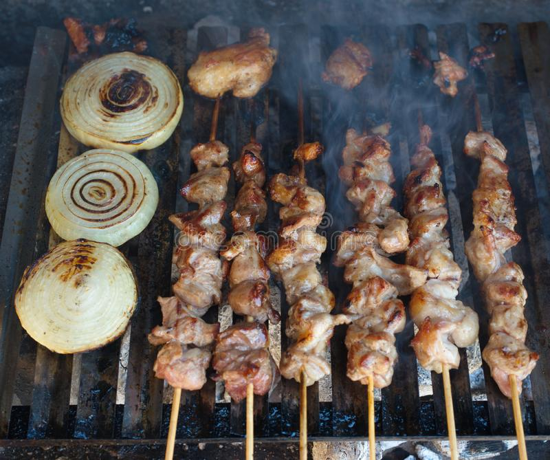Barbecue skewers meat royalty free stock photography