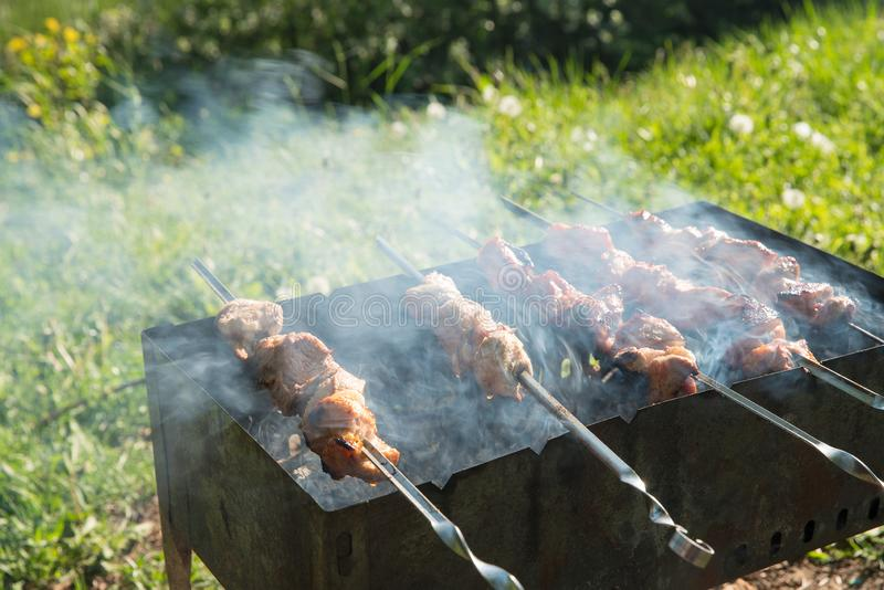 Barbecue    and  barbecue  smoke - sashlik in Russia stock photography
