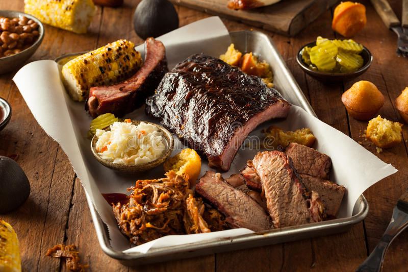 Barbecue Smoked Brisket and Ribs Platter stock photography