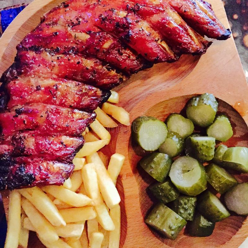 Barbecue Smoked ribs royalty free stock images
