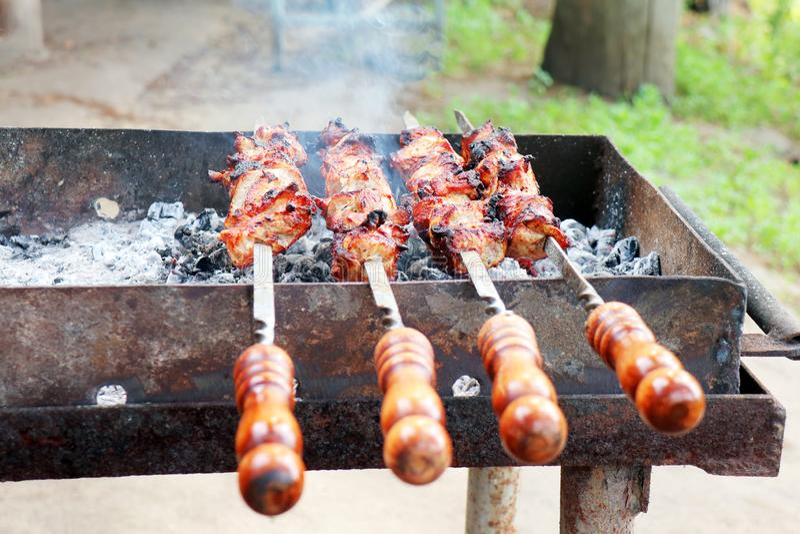 Barbecue sobre esquisadores na grelha foto de stock