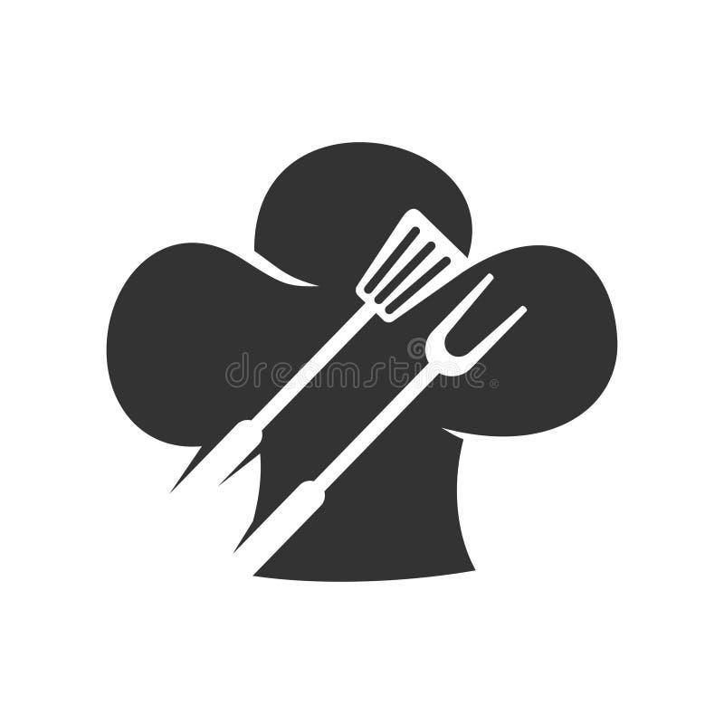 Barbecue Spatula Fork Hat Chef modello di contrassegno vettoriale illustrazione di stock