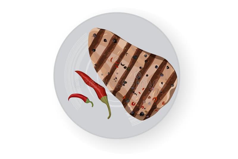 Barbecue steak with chili pepper stock photo