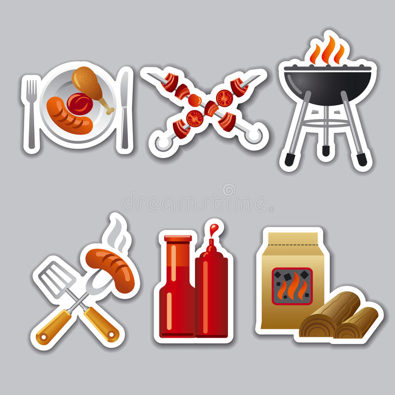 Barbecue stickers royalty free illustration