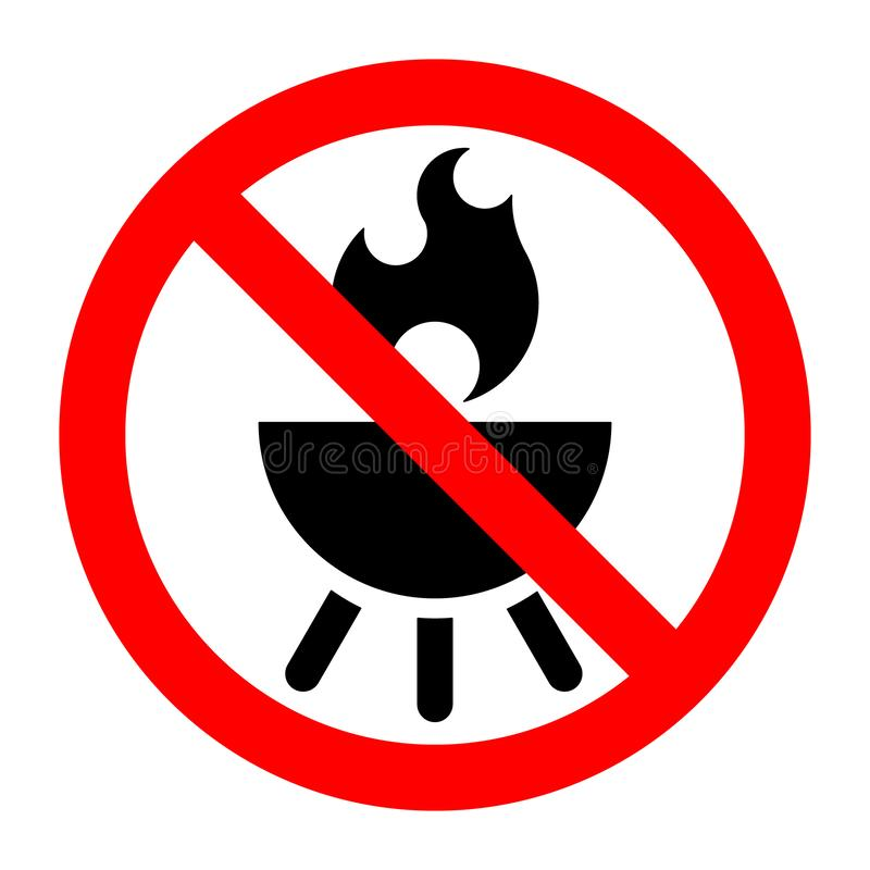 Barbecue stop forbidden prohibition sign. Vector illustration stock illustration