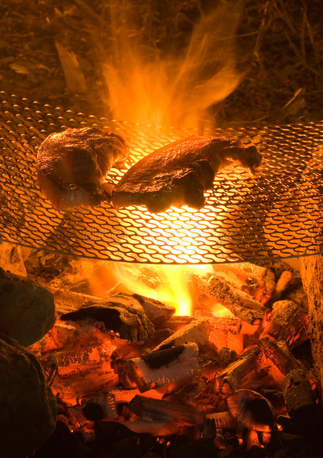 Barbecue sur le feu de camp dans sauvage. photos stock