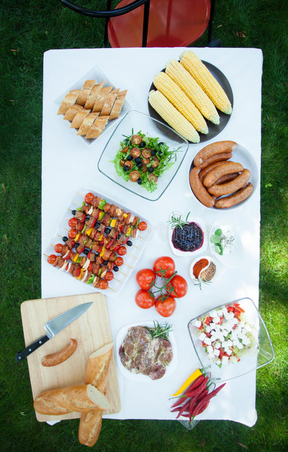 Barbecue table bird eye view royalty free stock image