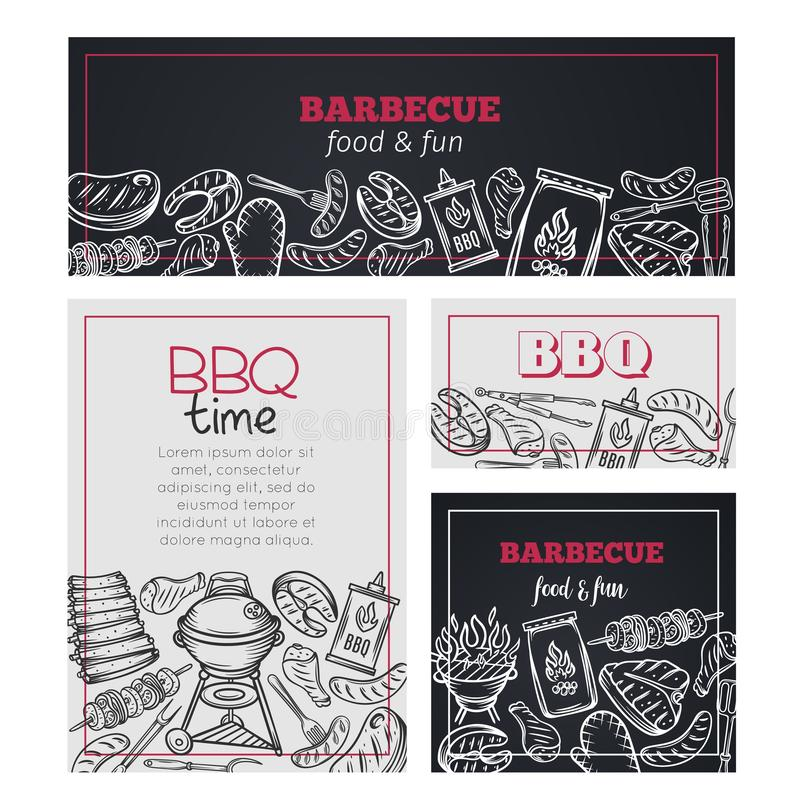 Barbecue time banners. royalty free stock image