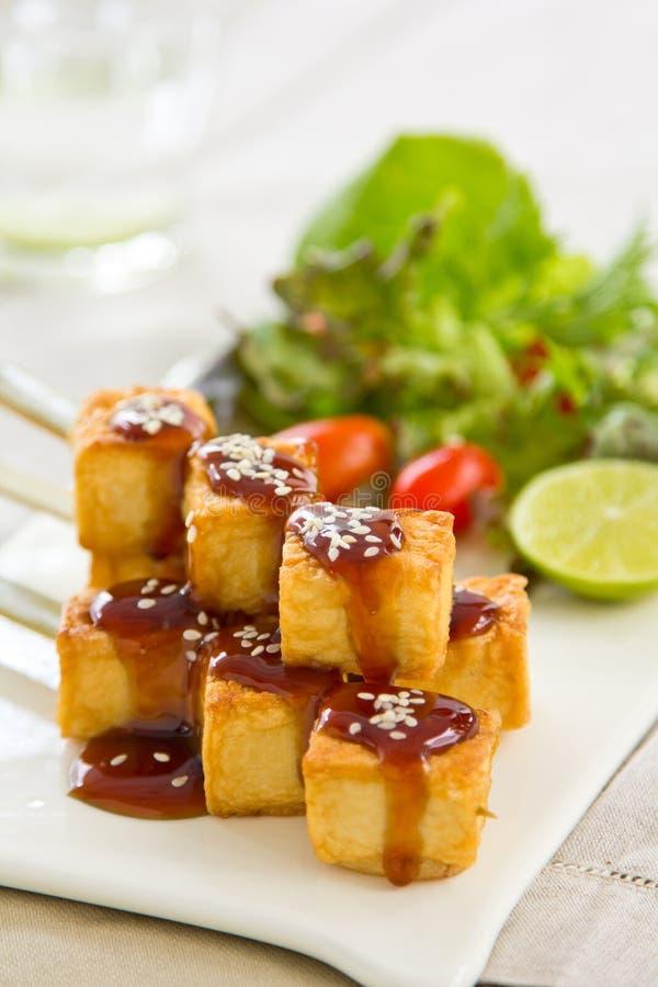 Barbecue Tofu with salad. Barbecue Teriyaki Tofu with fresh lettuce salad stock images