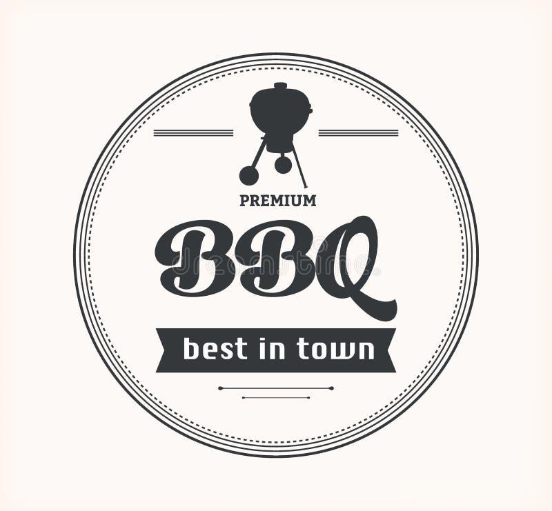 Barbecue uitstekend teken op witte achtergrond stock illustratie