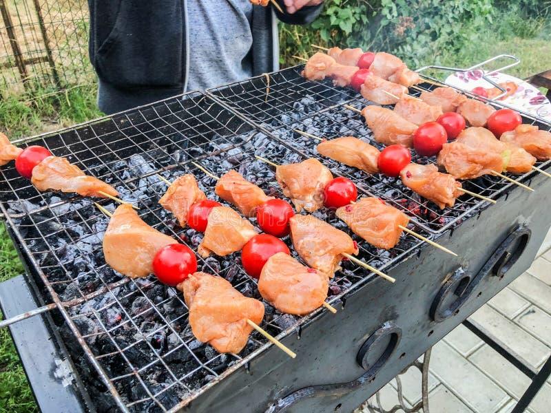 Barbecue van kippenvlees met groenten op de steenkolen Kippenvleespennen met geroosterde groenten royalty-vrije stock foto