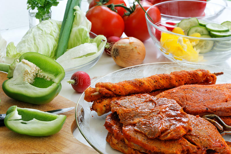 Download Barbecue and vegetables. stock image. Image of eating - 29549631