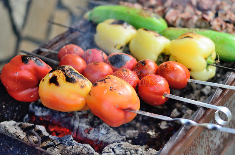 Barbecue vegetables and meat. royalty free stock photos
