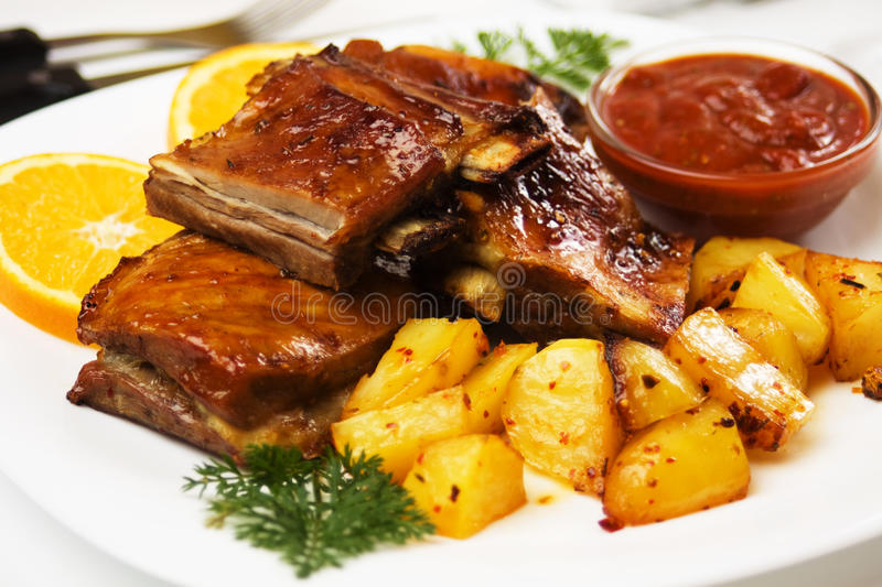 Download Barbecued pork ribs stock image. Image of plate, nobody - 17685429