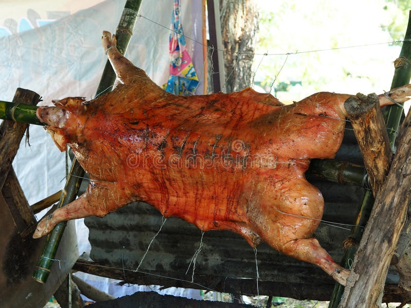 Barbecued suckling pig traditional royalty free stock images