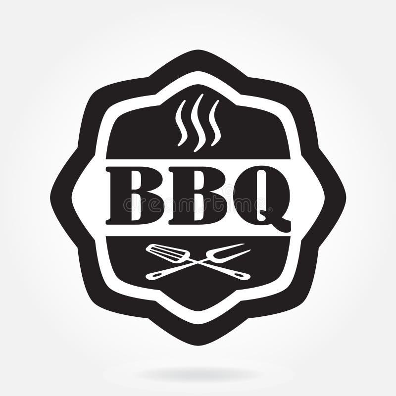 Barbecueetiket of BBQ zegel op witte achtergrond wordt geïsoleerd die Het Ontwerpmalplaatje van het grillmenu Vector illustratie vector illustratie