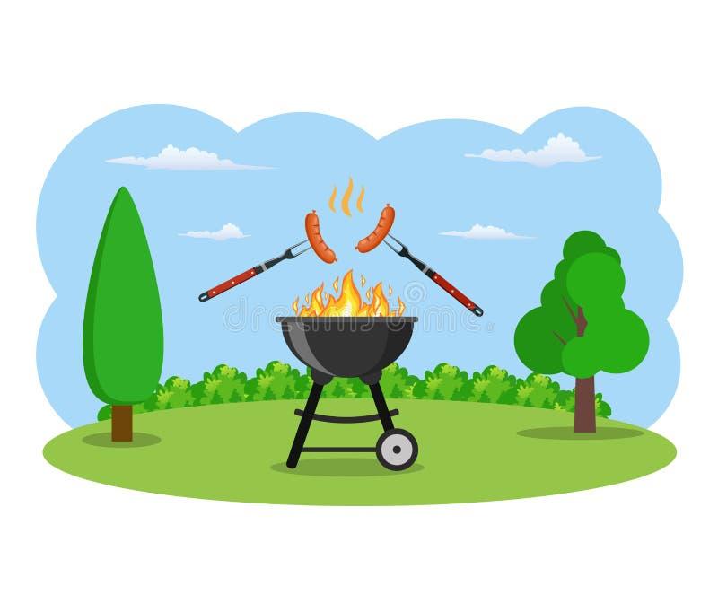 Barbecuegrill en keukengerei vector illustratie