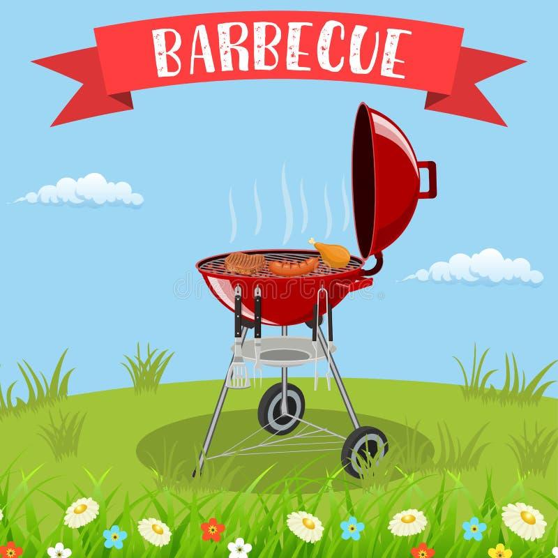 Barbecuegrill en keukengerei royalty-vrije illustratie