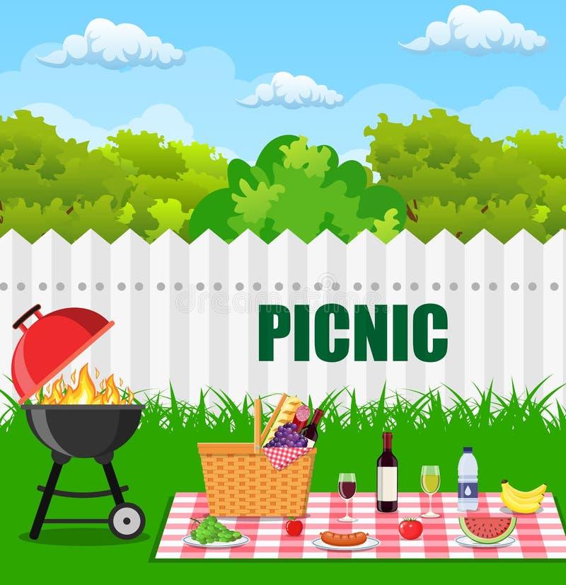 Barbecuegrill en keukengerei stock illustratie