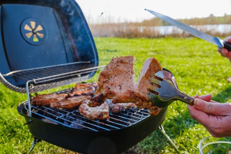 Barbecuegrill met diverse soorten vlees Geplaatst op gras stock foto's