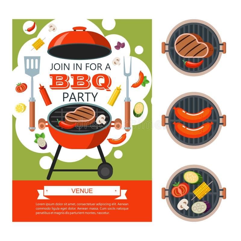 Barbecuepartij Kleurrijke uitnodiging, vectorillustratie stock illustratie