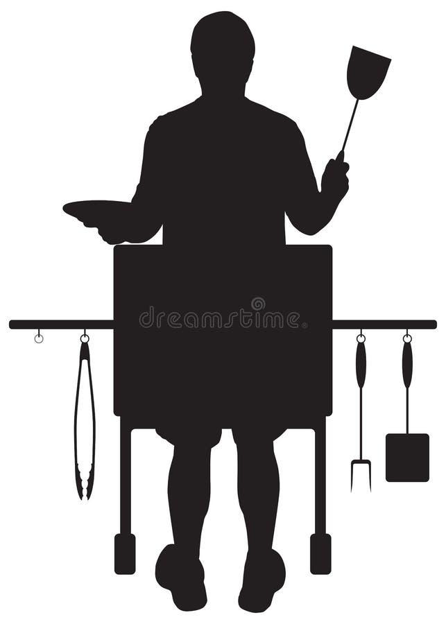 Barbecuer w sylwetce ilustracji
