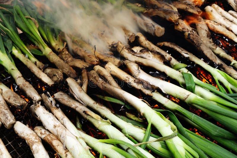 Barbecuing calcots, луки типичные Каталонии стоковые фото