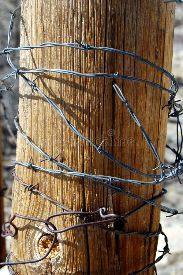 Barbed Wire. Close up of barbed wire wrapped around a fence post royalty free stock photos