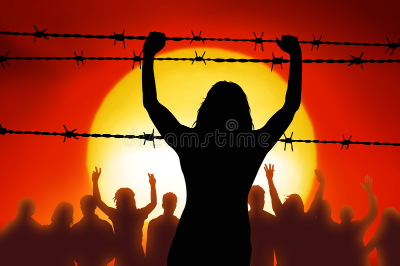 Barbed wire. People are captured behind barbed wire royalty free illustration