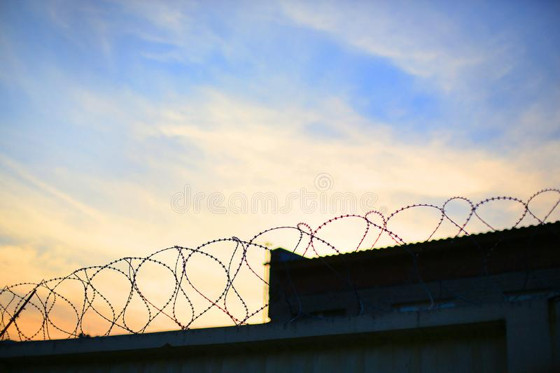 Barbed wire on the background of the sunset stock photos