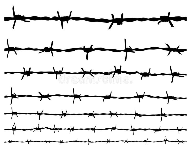 Barbed wire. Black silhouette of the barbed wire royalty free illustration