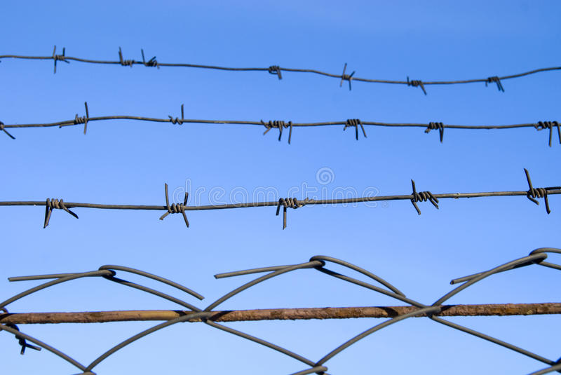 Download Barbed wire on blue sky stock photo. Image of domination - 12393320