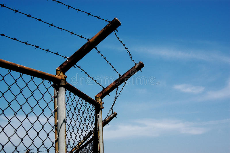 Download Barbed wire with blue sky stock photo. Image of steel - 23254572