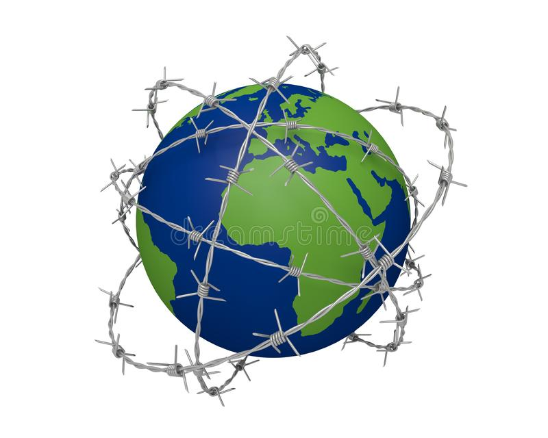 Barbed wire border barbwire. Violence 3D royalty free illustration