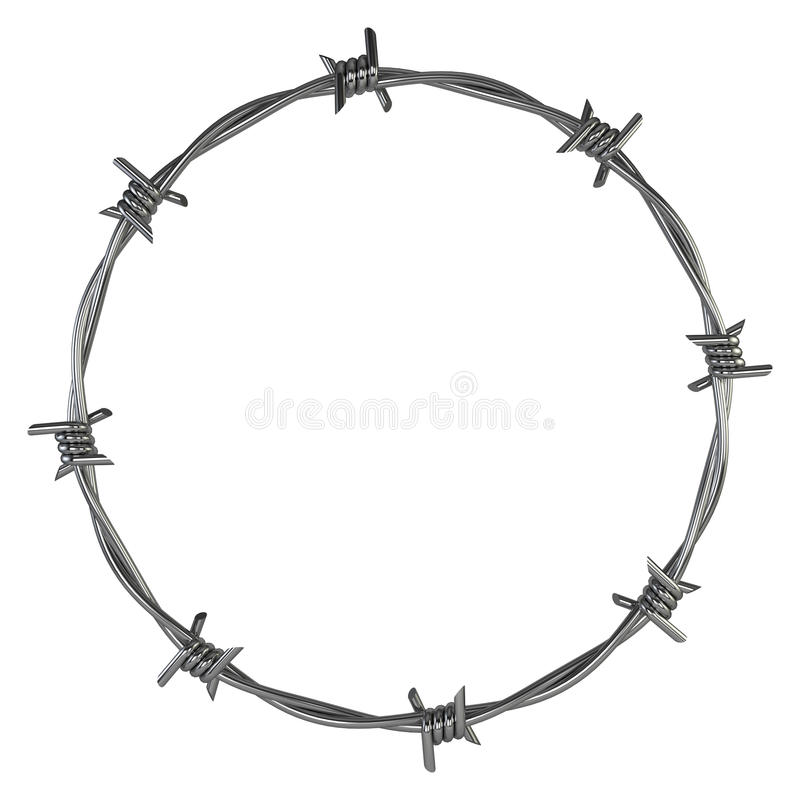 Barbed wire. 3d illustration isolated on white background royalty free illustration