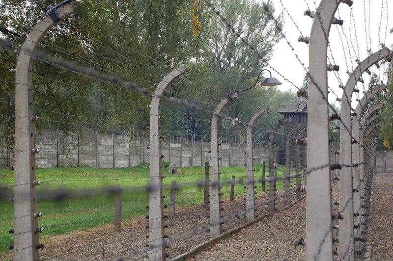 Barbed wire electric fence royalty free stock images