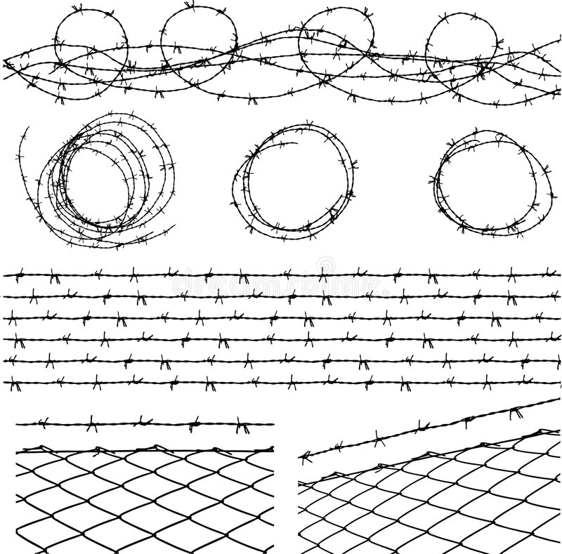 Barbed wire elements stock illustration