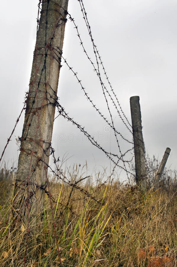 Barbed wire fence stock images