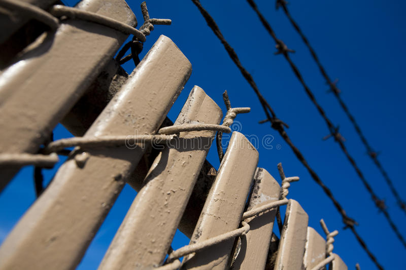 Download Barbed wire fence stock photo. Image of wood, blue, points - 9997302