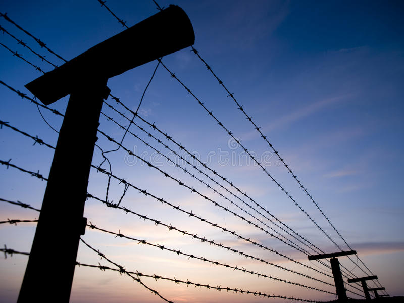 Barbed wire fence - Iron curtain royalty free stock photo